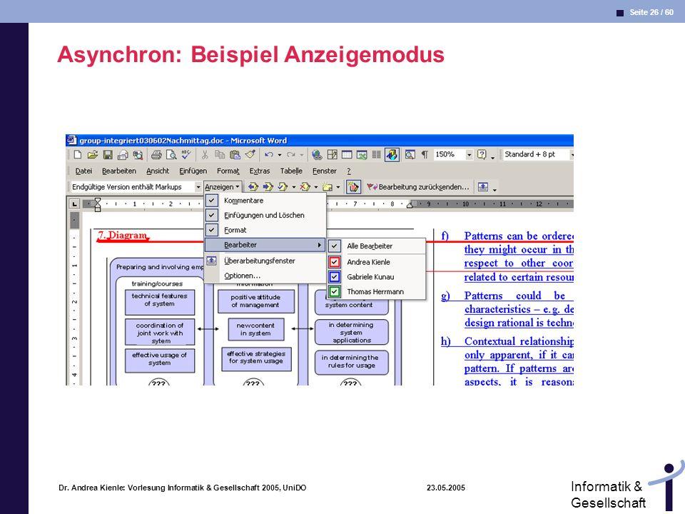 Asynchron: Beispiel Anzeigemodus