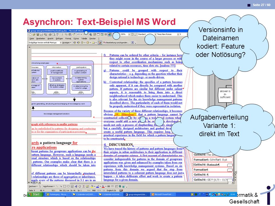 Asynchron: Text-Beispiel MS Word