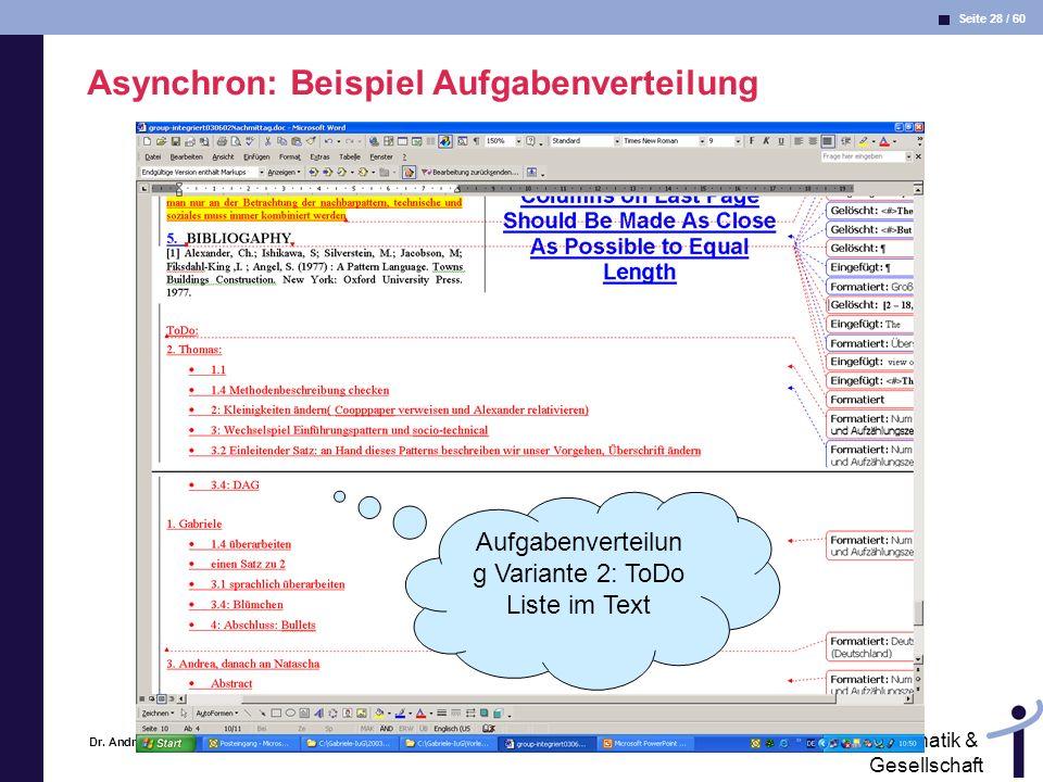 Asynchron: Beispiel Aufgabenverteilung