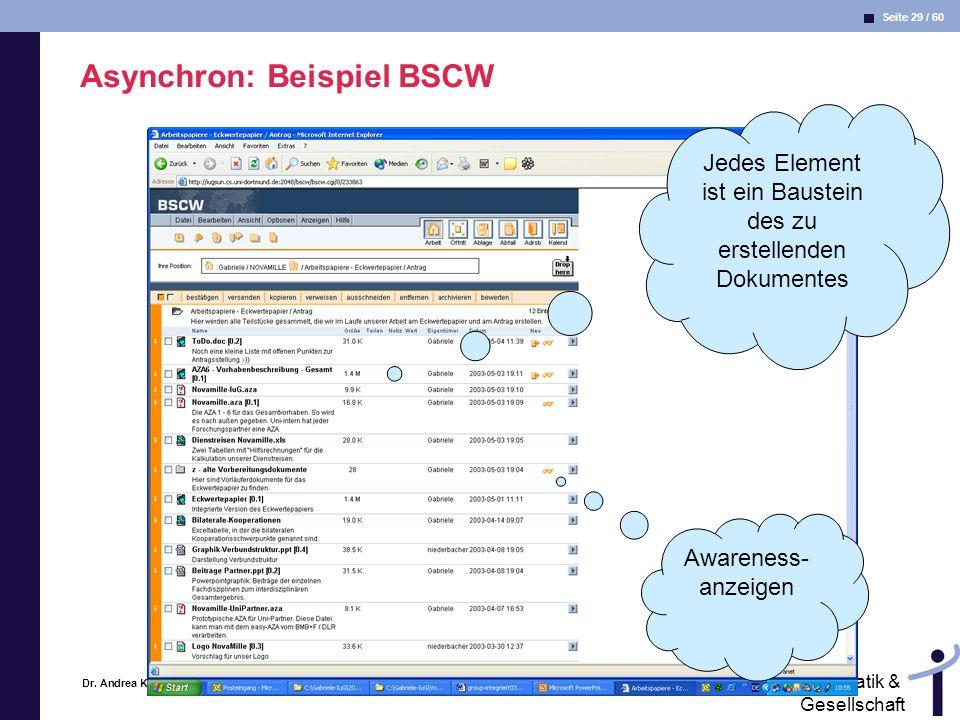 Asynchron: Beispiel BSCW