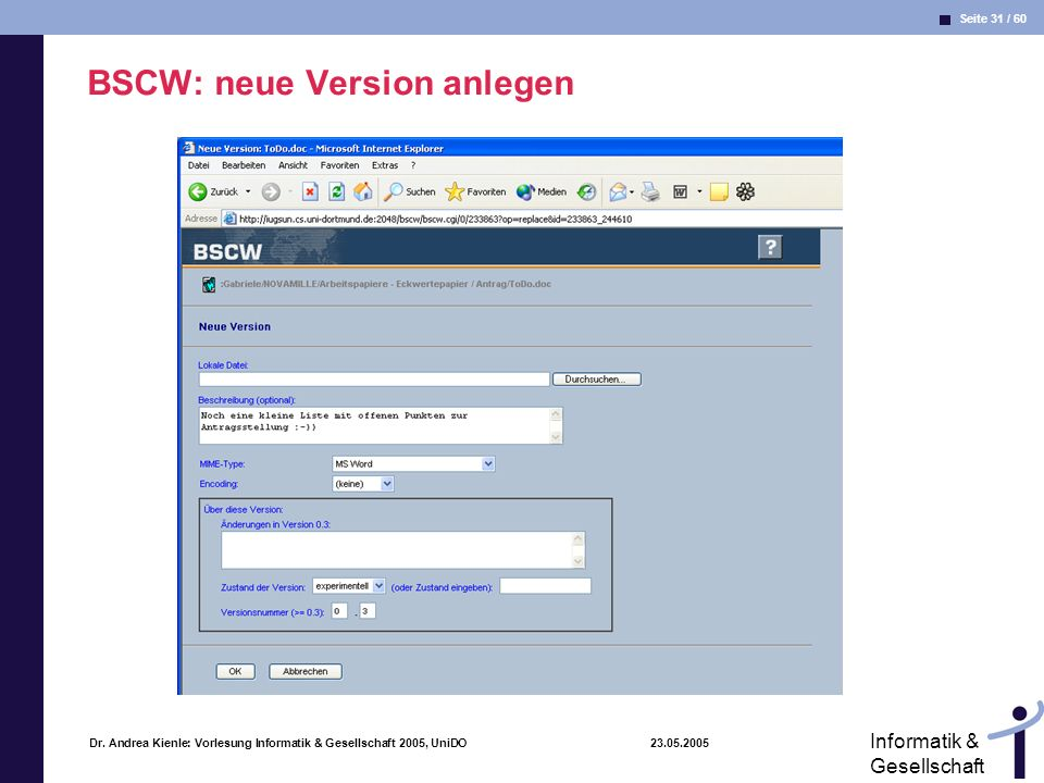 BSCW: neue Version anlegen