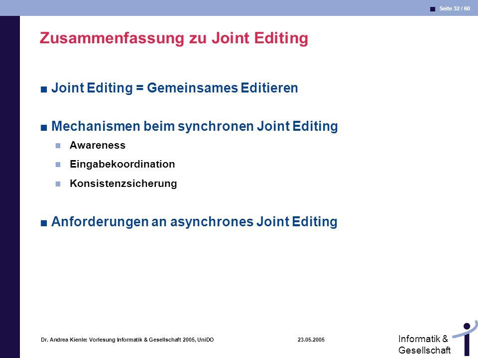 Zusammenfassung zu Joint Editing