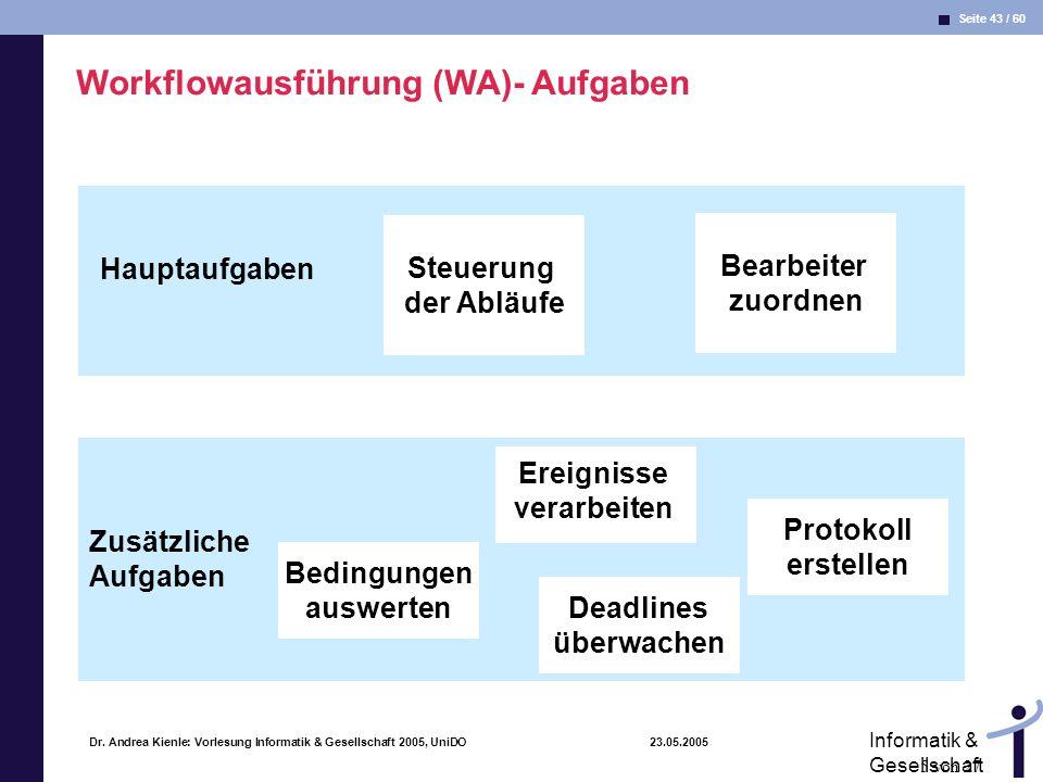 Workflowausführung (WA)- Aufgaben