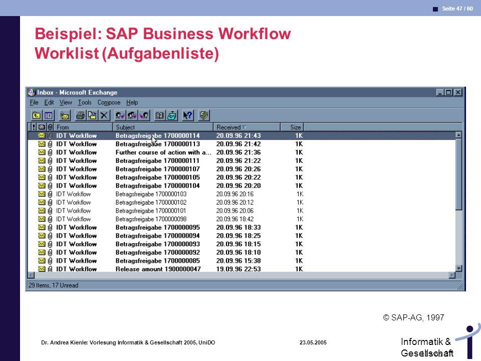 Beispiel: SAP Business Workflow Worklist (Aufgabenliste)