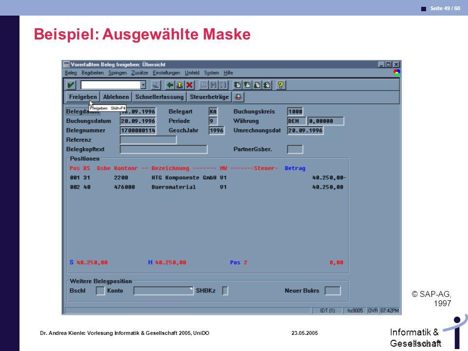 Beispiel: Ausgewählte Maske