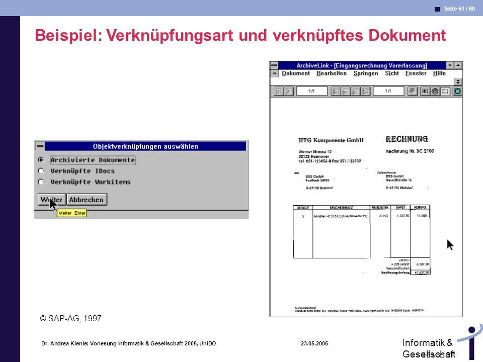 Beispiel: Verknüpfungsart und verknüpftes Dokument