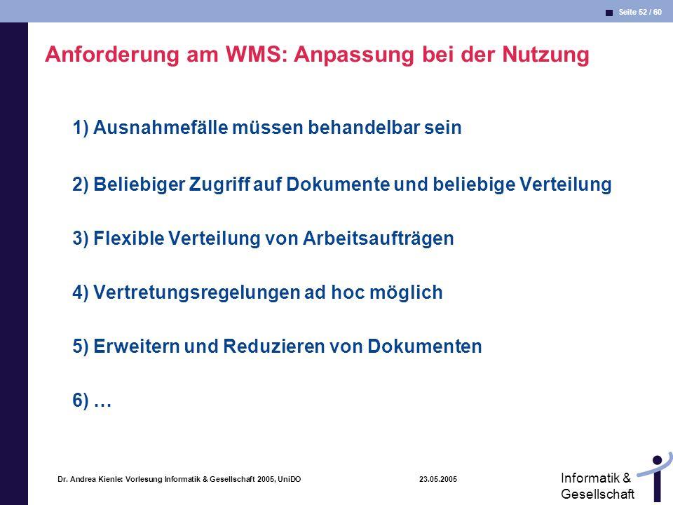 Anforderung am WMS: Anpassung bei der Nutzung