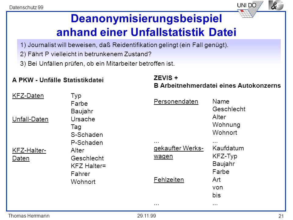 Deanonymisierungsbeispiel anhand einer Unfallstatistik Datei