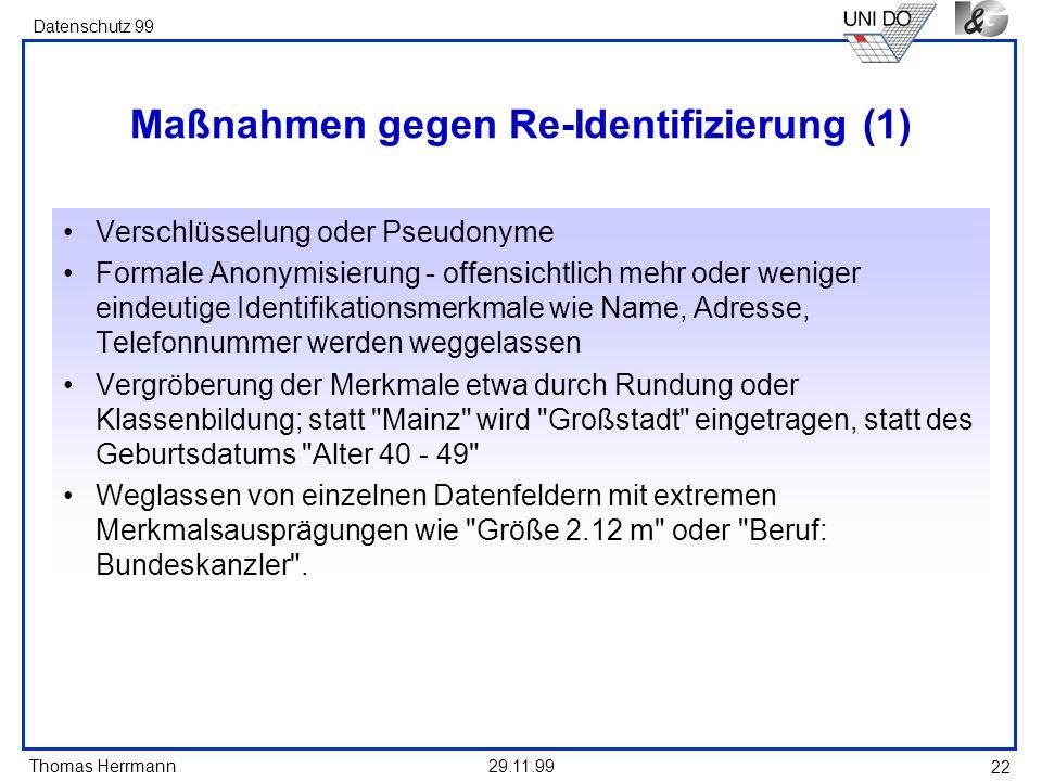 Maßnahmen gegen Re-Identifizierung (1)