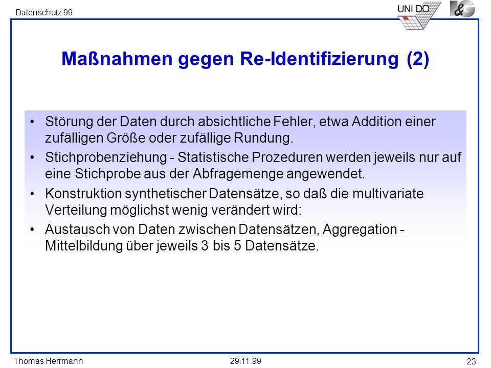 Maßnahmen gegen Re-Identifizierung (2)