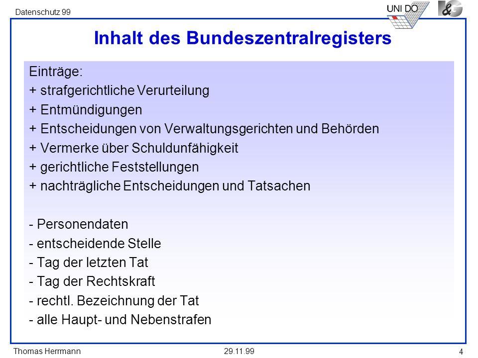 Inhalt des Bundeszentralregisters