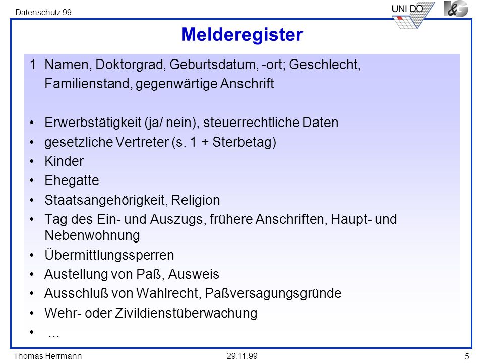 Melderegister 1 Namen, Doktorgrad, Geburtsdatum, -ort; Geschlecht,