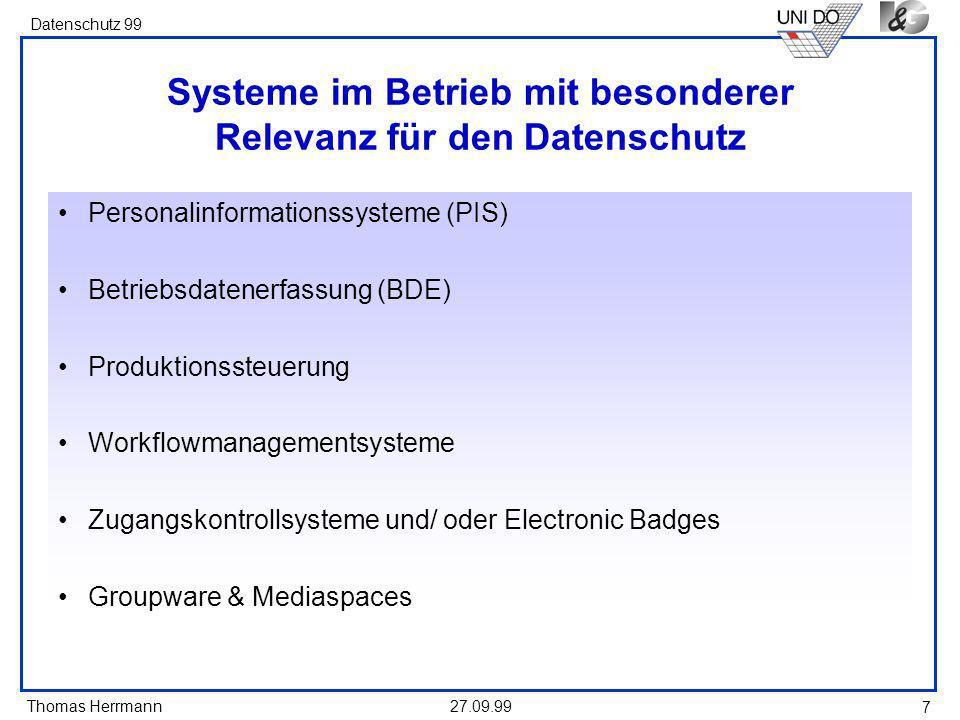 Systeme im Betrieb mit besonderer Relevanz für den Datenschutz