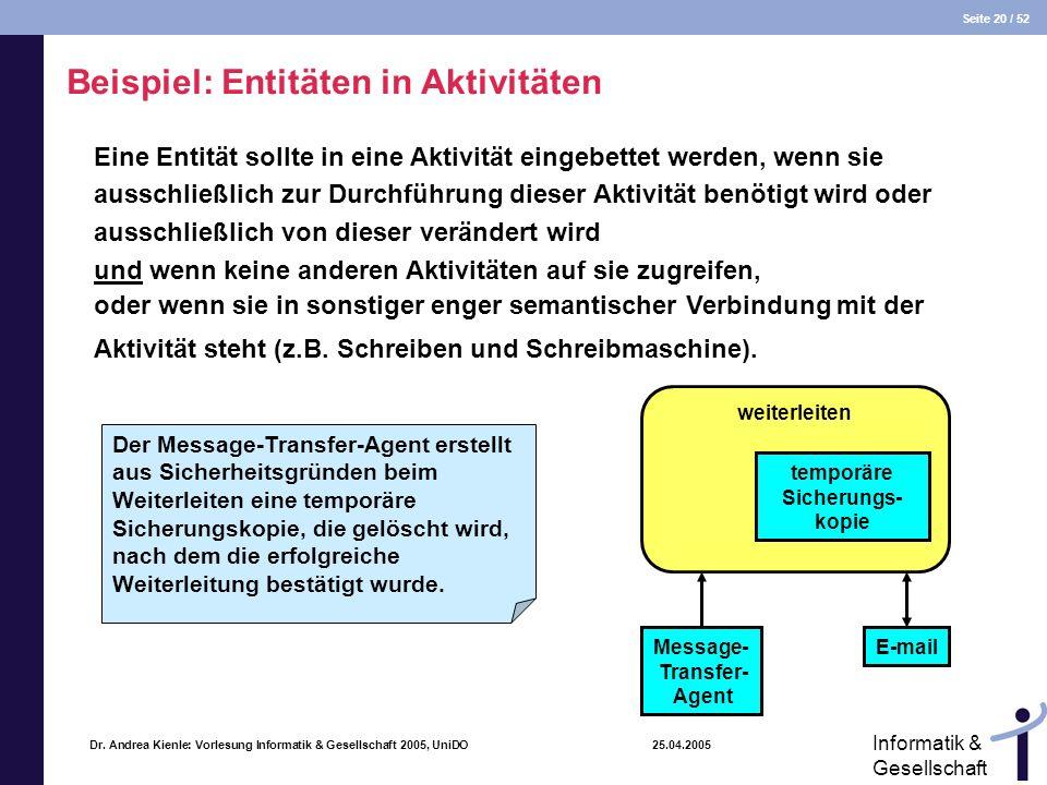 Beispiel: Entitäten in Aktivitäten