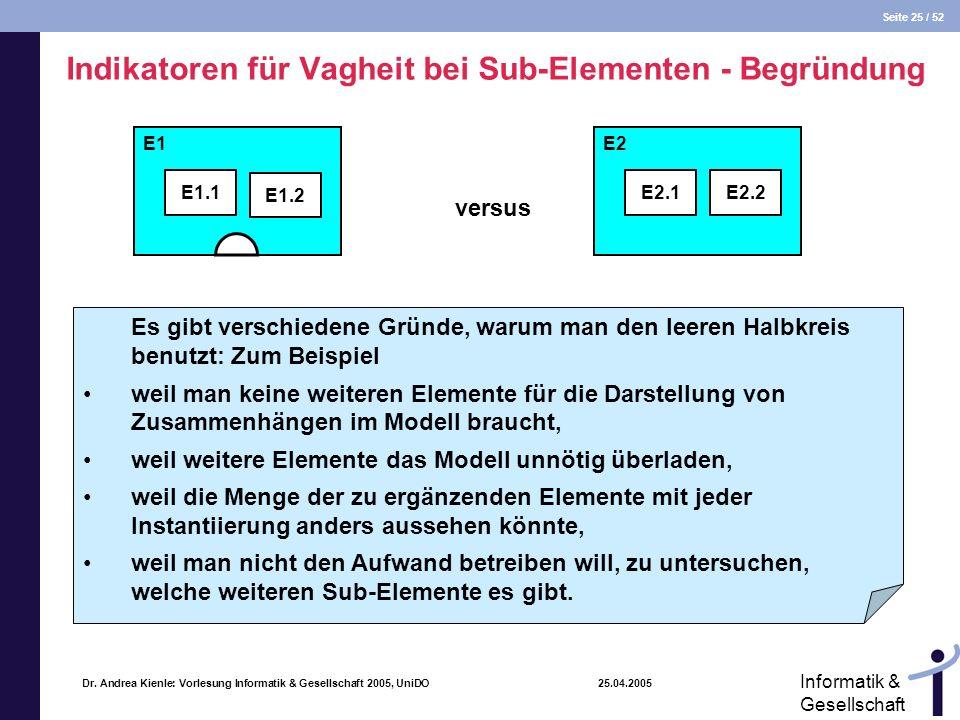 Indikatoren für Vagheit bei Sub-Elementen - Begründung