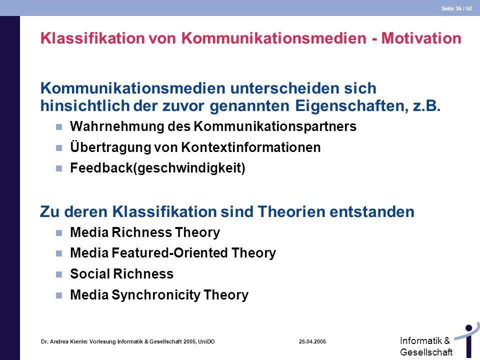 Klassifikation von Kommunikationsmedien - Motivation