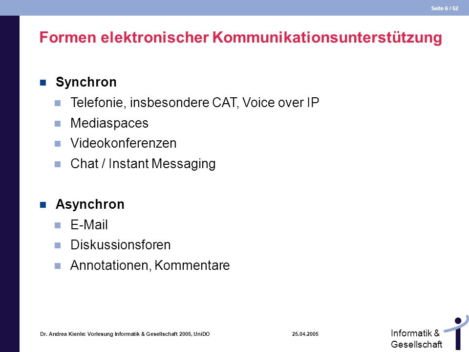Formen elektronischer Kommunikationsunterstützung