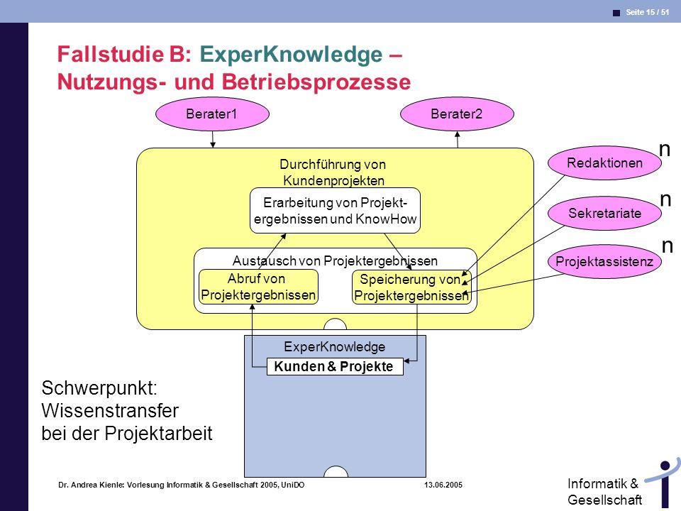 Fallstudie B: ExperKnowledge – Nutzungs- und Betriebsprozesse