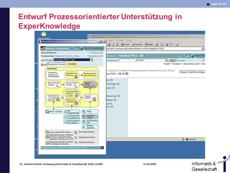 Entwurf Prozessorientierter Unterstützung in ExperKnowledge