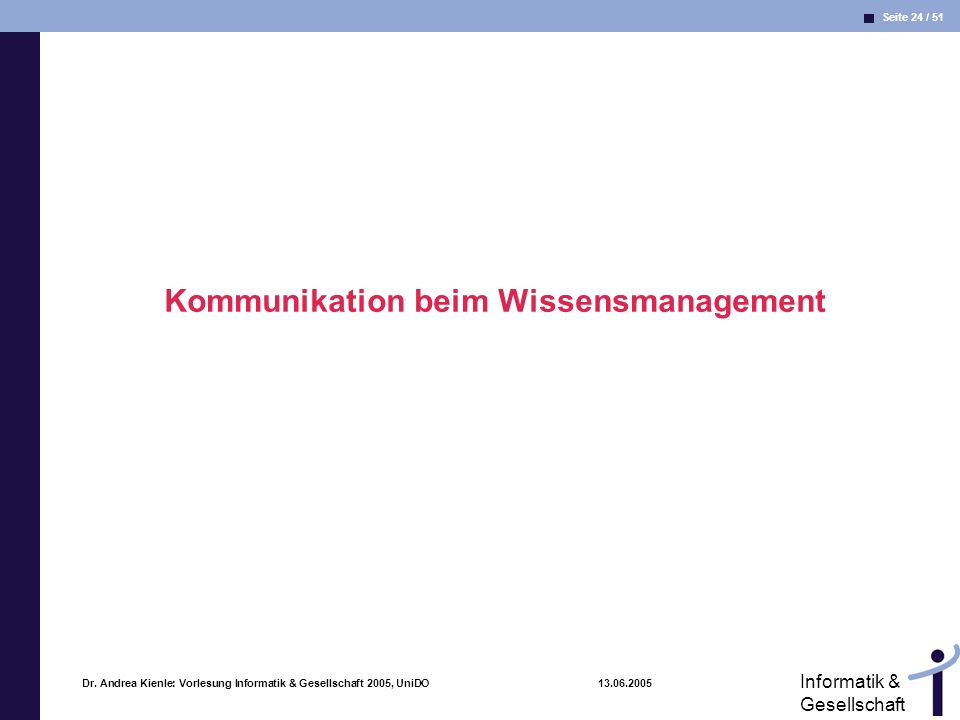 Kommunikation beim Wissensmanagement