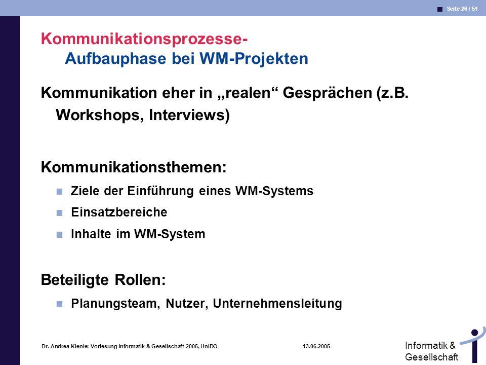 Kommunikationsprozesse- Aufbauphase bei WM-Projekten