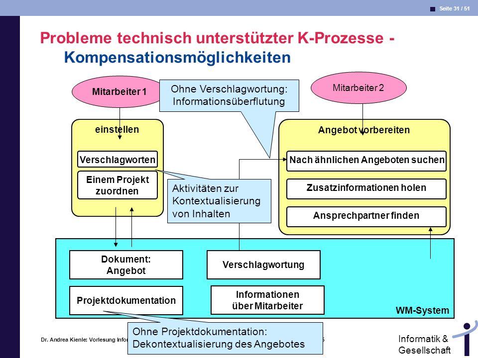 Probleme technisch unterstützter K-Prozesse -Kompensationsmöglichkeiten