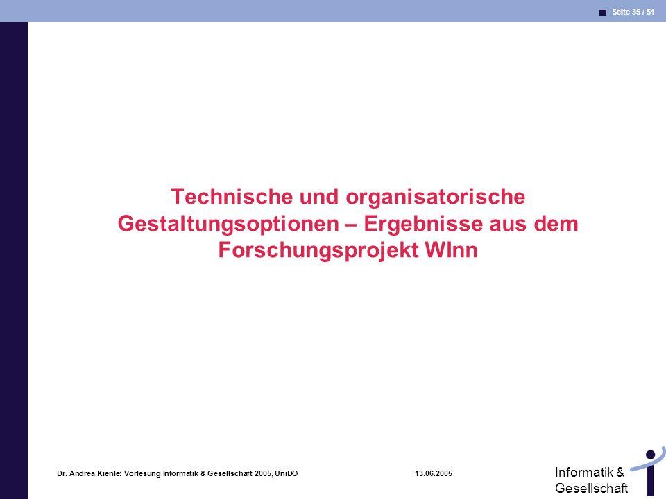 Technische und organisatorische Gestaltungsoptionen – Ergebnisse aus dem Forschungsprojekt WInn
