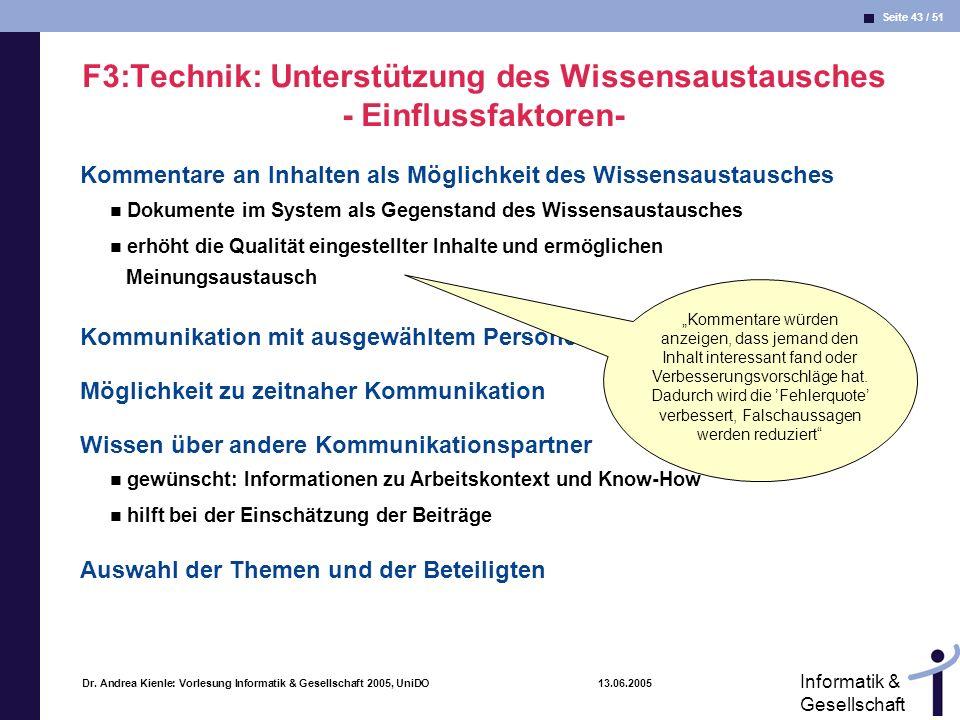 F3:Technik: Unterstützung des Wissensaustausches - Einflussfaktoren-