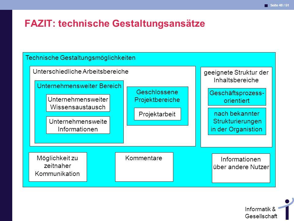 FAZIT: technische Gestaltungsansätze