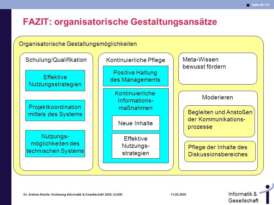 FAZIT: organisatorische Gestaltungsansätze