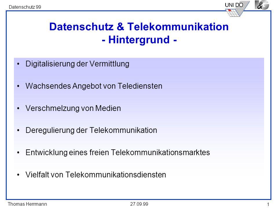 Datenschutz & Telekommunikation - Hintergrund -