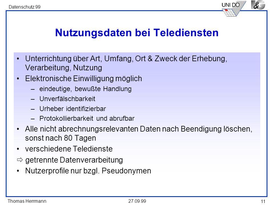 Nutzungsdaten bei Telediensten