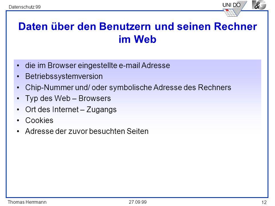 Daten über den Benutzern und seinen Rechner im Web