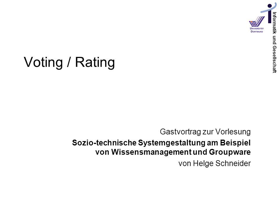 Voting / Rating Gastvortrag zur Vorlesung
