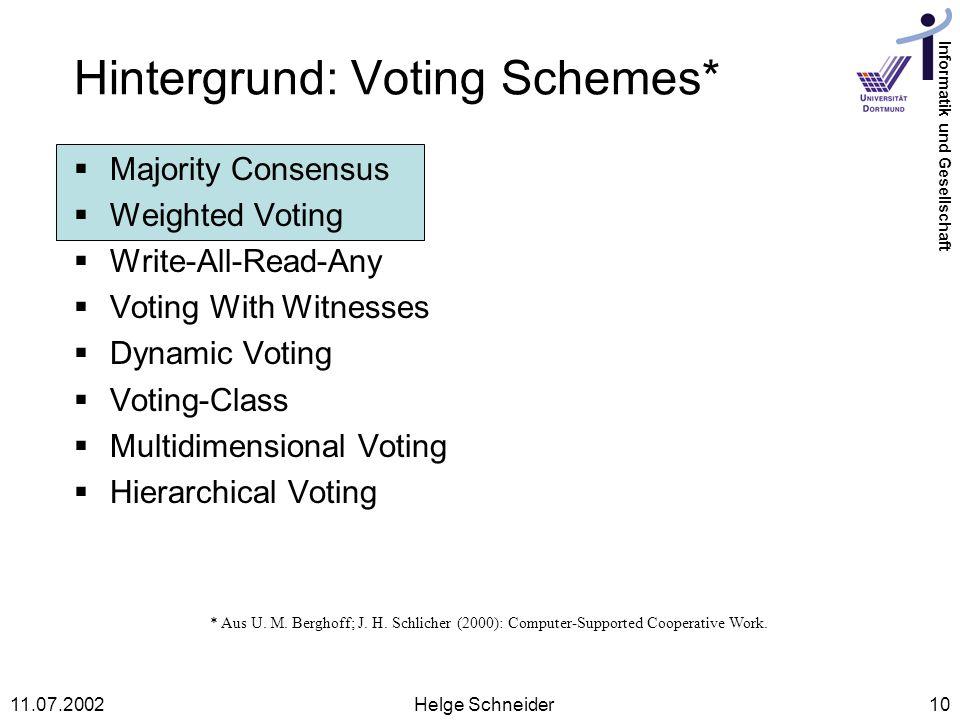 Hintergrund: Voting Schemes*