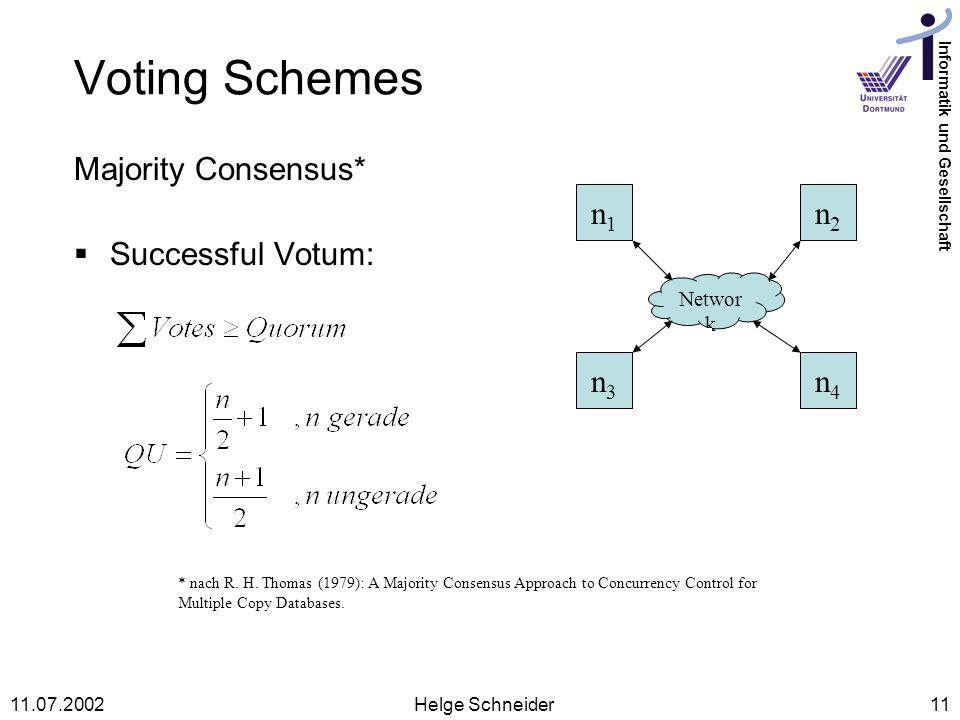 Voting Schemes Majority Consensus* Successful Votum: n1 n2 n3 n4