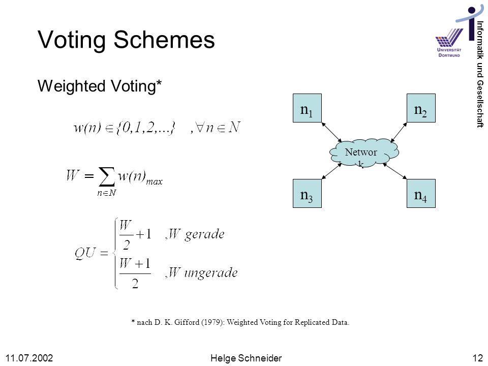 Voting Schemes Weighted Voting* n1 n2 n3 n4 Network 11.07.2002