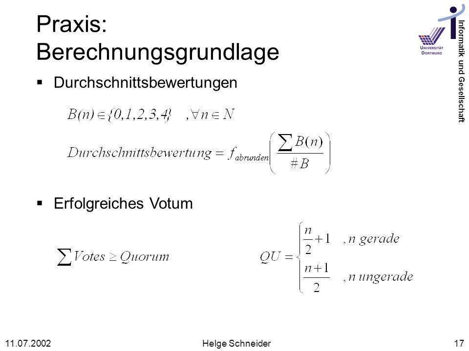 Praxis: Berechnungsgrundlage