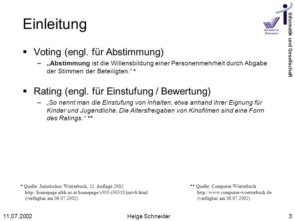Einleitung Voting (engl. für Abstimmung)