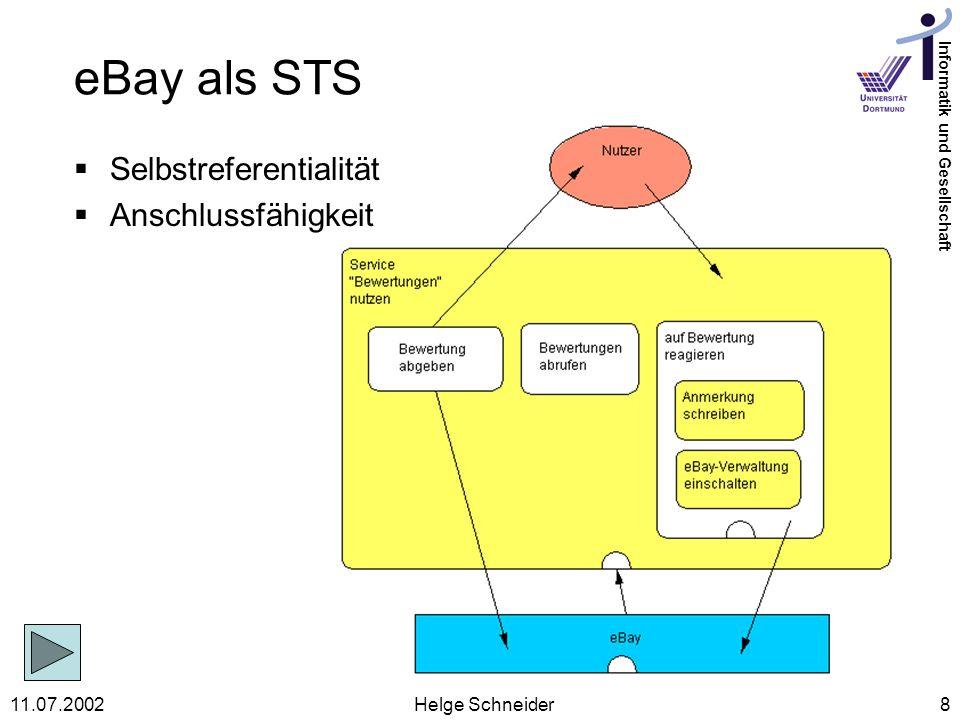 eBay als STS Selbstreferentialität Anschlussfähigkeit 11.07.2002