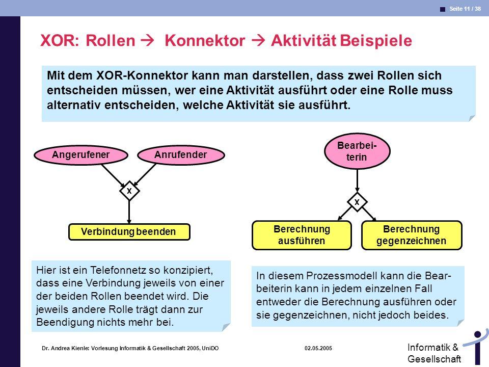 XOR: Rollen  Konnektor  Aktivität Beispiele