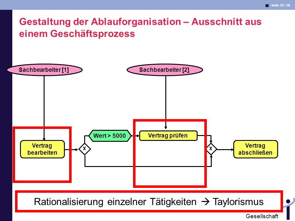 Rationalisierung einzelner Tätigkeiten  Taylorismus