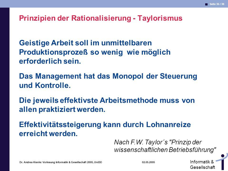 Prinzipien der Rationalisierung - Taylorismus