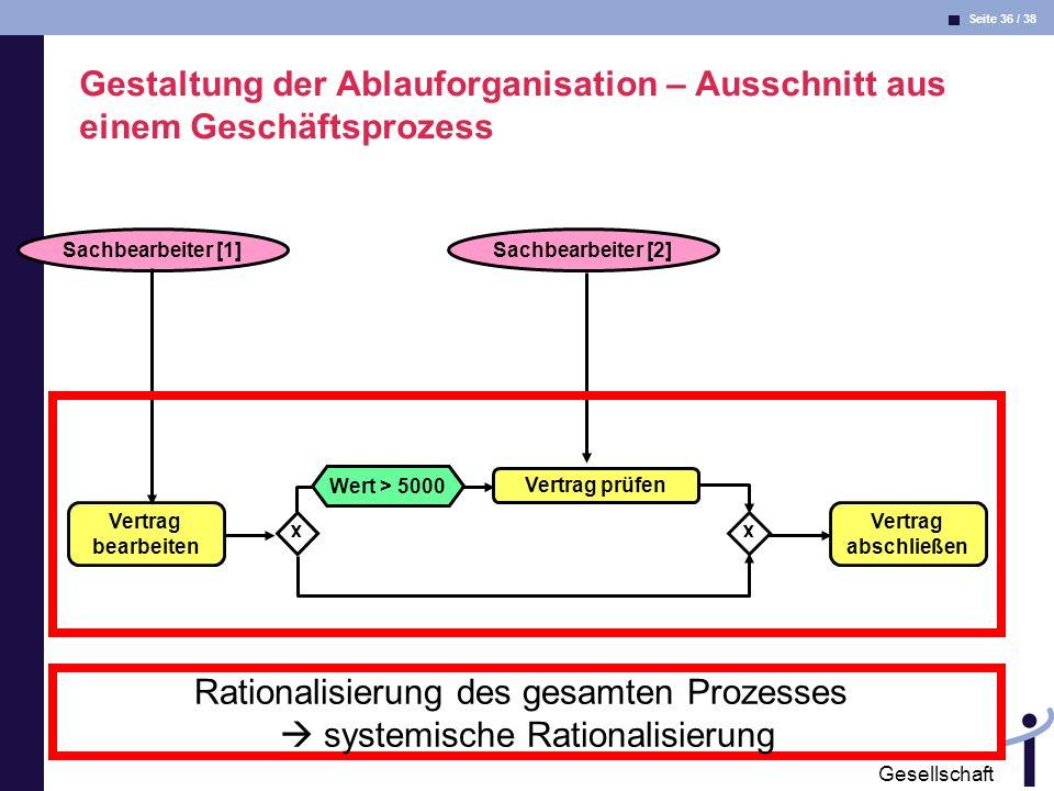 Rationalisierung des gesamten Prozesses  systemische Rationalisierung