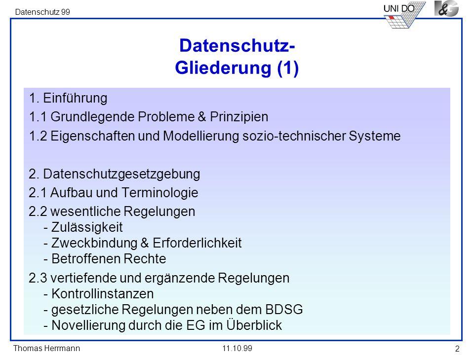 Datenschutz- Gliederung (1)