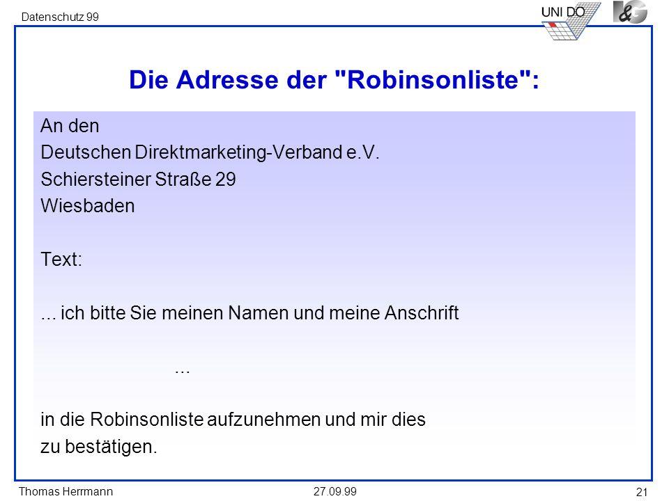 Die Adresse der Robinsonliste :