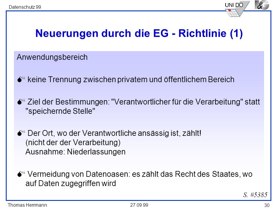 Neuerungen durch die EG - Richtlinie (1)