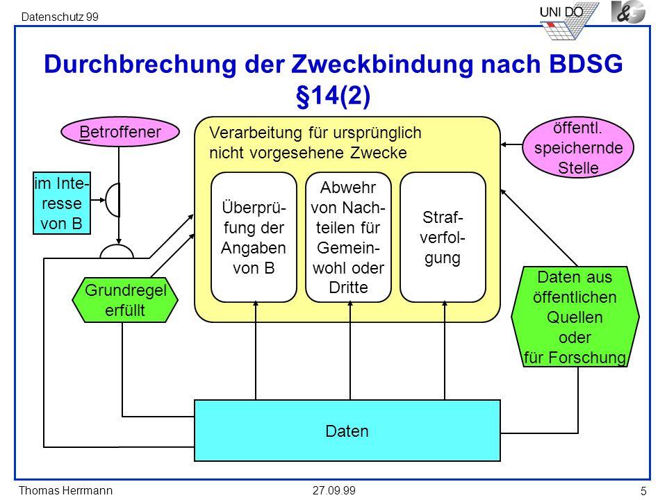 Durchbrechung der Zweckbindung nach BDSG §14(2)