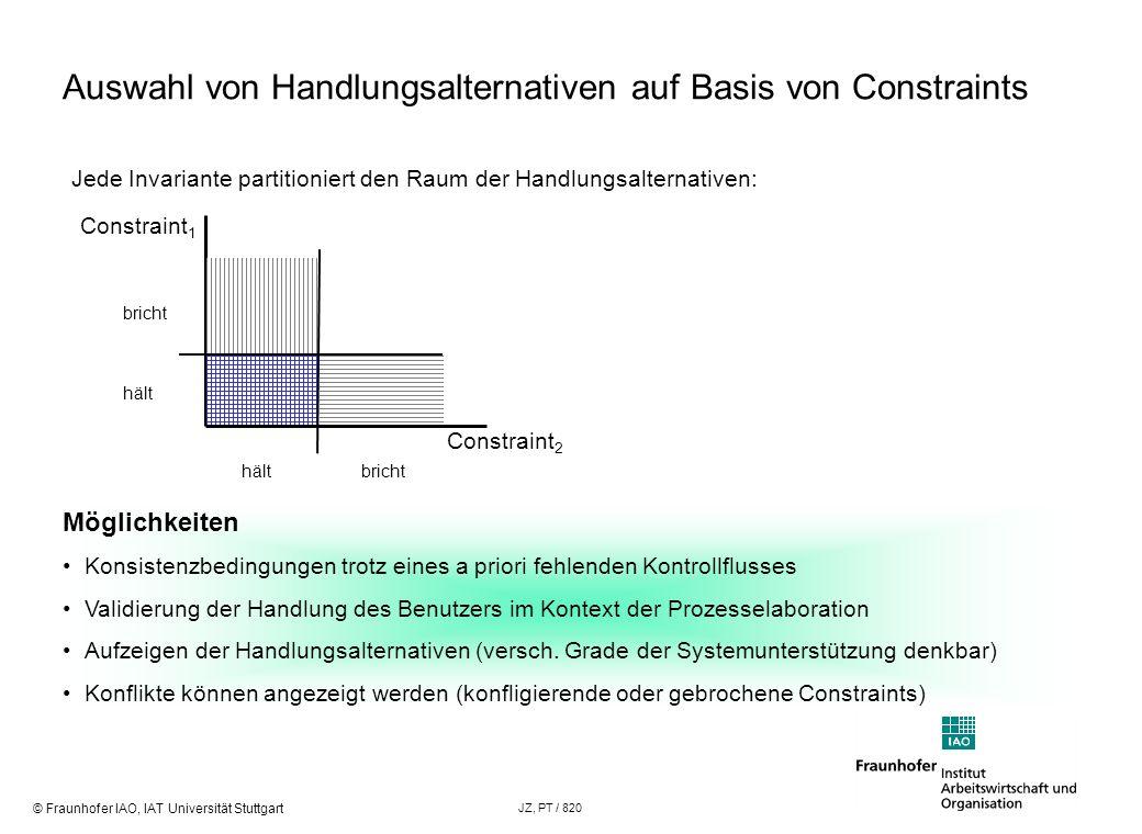 Auswahl von Handlungsalternativen auf Basis von Constraints