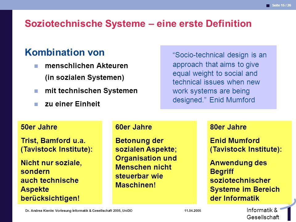 Soziotechnische Systeme – eine erste Definition